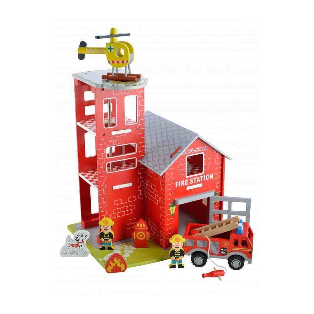 Abg Wooden Fire Station Playset With Play Vehicles Figures