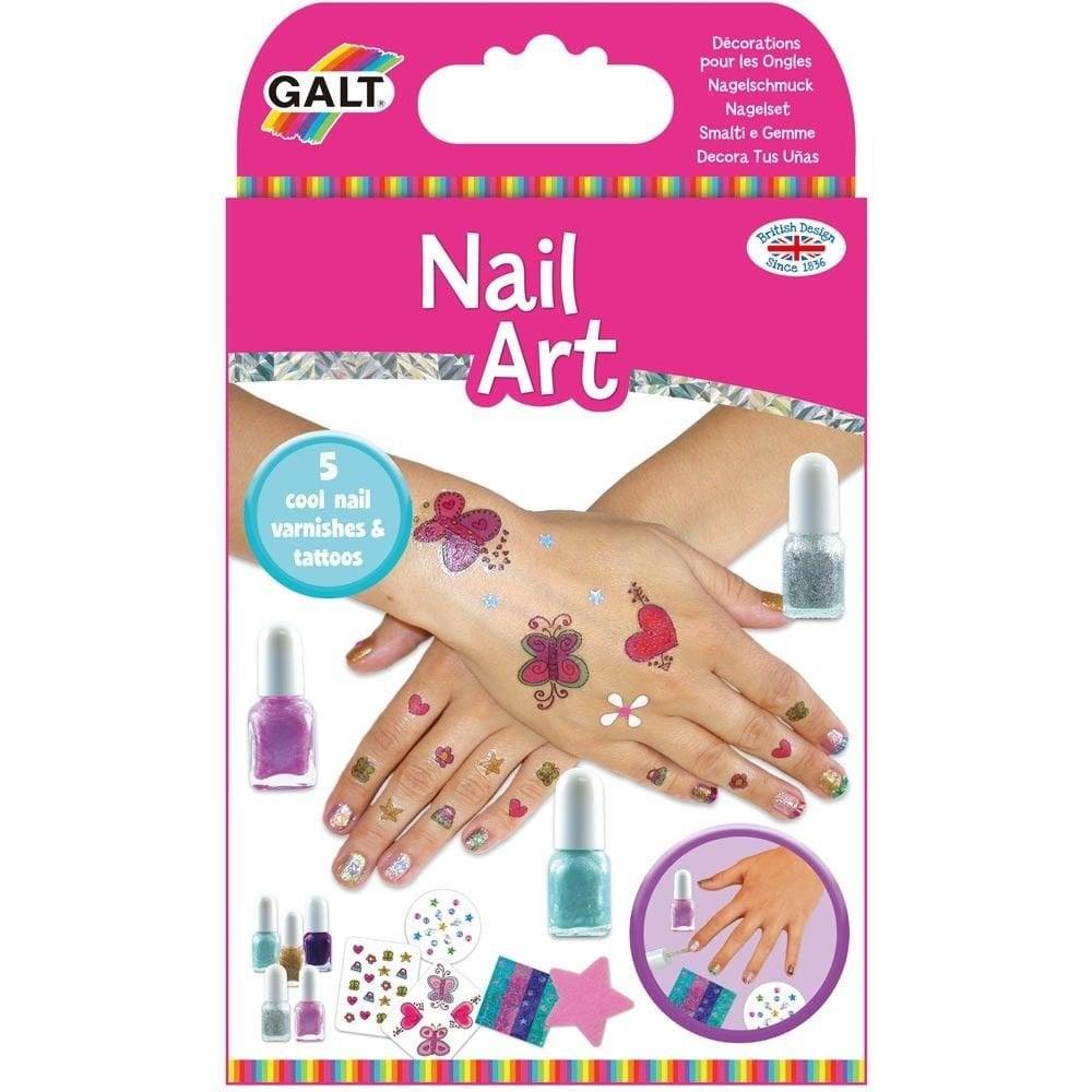 Galt Toys Nail Art Nail Polish Kit Set Glitter Tattoos Kids Girls